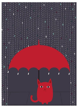 Кошка под дождем