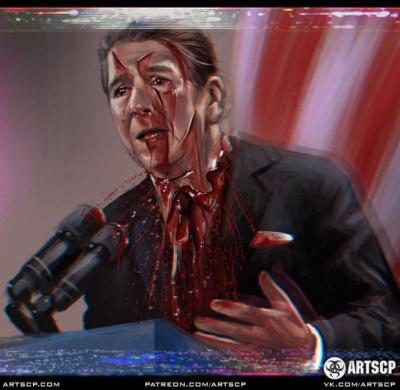 Рональда Рейгана изрезали во время речи